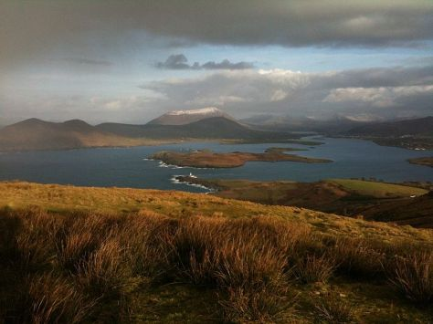 Beginish island & Valentia Harbour__View_from_Mt_Geokuan_Summit