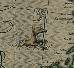 Peist from John Speed's 1611 map of Ireland