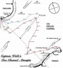 map of Capt Mathew Webbs Channel crossing