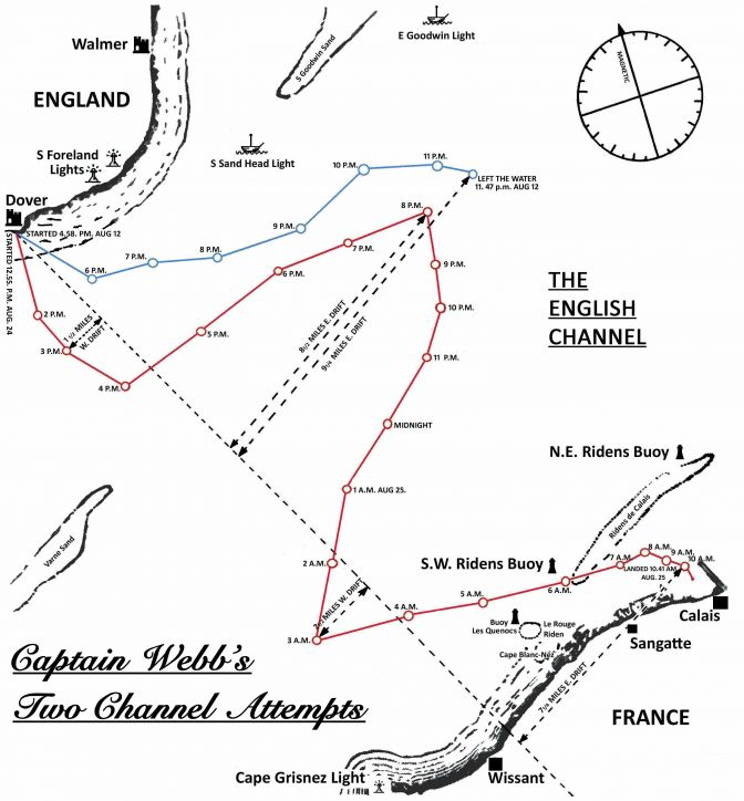 map of Capt Mathew Webbs Channel crossing