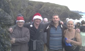 Newtown & Guillamene club members, Christmas swim 2011