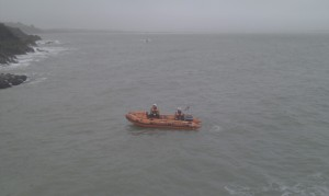 RNLI Rib on duty for the annual Guillamene Christmas swim