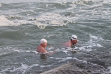 Lima swimming with The Bull, Rob Bohane, at Sandycove last saturday