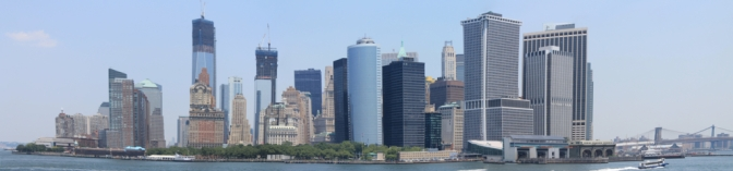 Lower Manhattan from the Staten Island ferry, Battery Park (left) to the Ferry Terminal (right), the first 10 minutes of the course