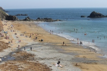 Kilfarassey beach in summer with lots of people