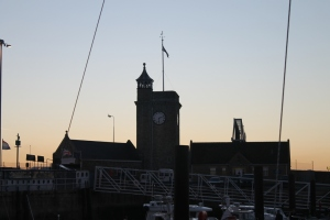 Dawn behind Dover Marina Clock Tower