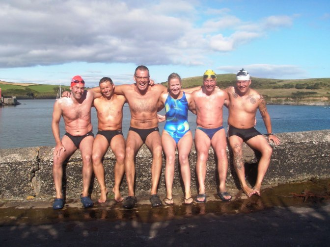 Six of The Magnificent Seven. From left; Ciaran Byrne, Donal, Liam Maher, Jennifer Hurley, Rob Bohane, Gabor Molnar. Channel swimmers one and all.