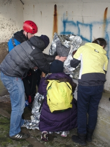 A severely hypothermic Ger Kennedy being attended to by volunteers