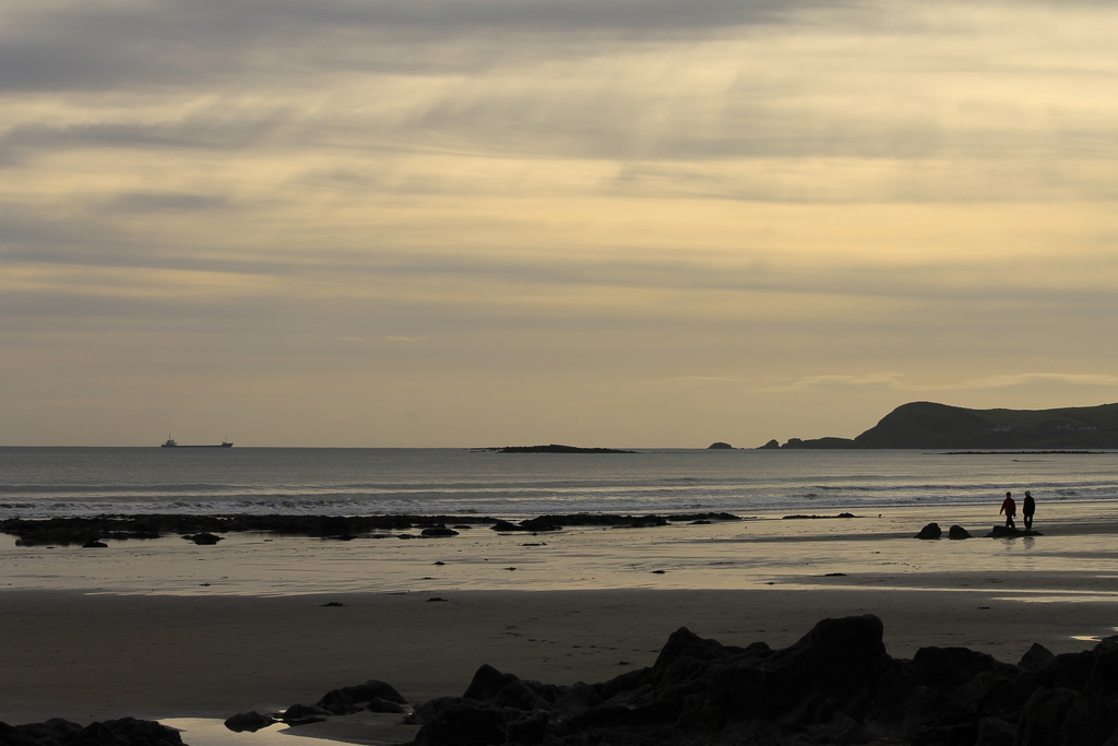 Clonea beach across Dungarvan Bay to Helvick Head, new Year's Day, 2013