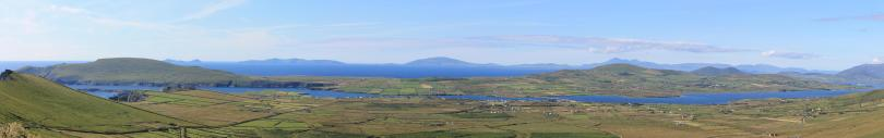 Valentia Island and Sound panorama with Caherciveen bay and the small islands, July 2012