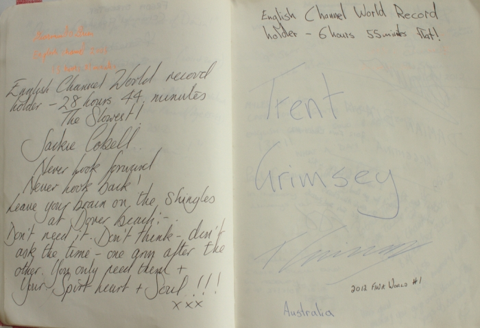 Autographs of Jackie Cobell, Trent Grimsey and Diarmuid O'Brian, the first Sandycove Channel swimmer
