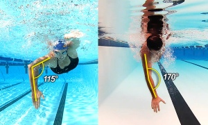 Example of the video stroke analysis during the clinic. Neither of these swimmers is me!