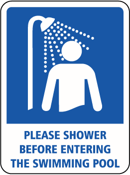 Sign telling and showing swimmers to shower before entering the swimming pool