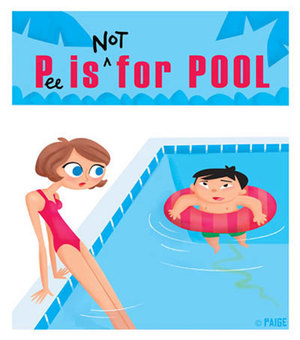 Cartoon sign saying P(ee) is Not For Pool