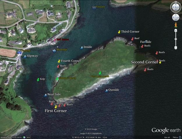 Sandycove Island from Google Earth high-res (annotated)