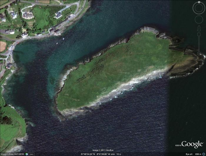 Sandycove Island from Google Earth high-res