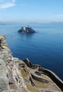 Closer to Heaven, part of the monastery at the peak- Skellig Beag and the coast in the backround
