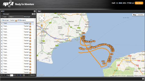 Random SPOT tracker English channel map