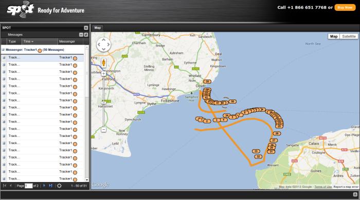 Random SPOT tracker English channel map
