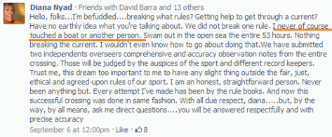 Diana Nyad on Facebook - so much bollocks