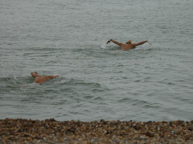 Sylle & Donal swimming off Dover beach