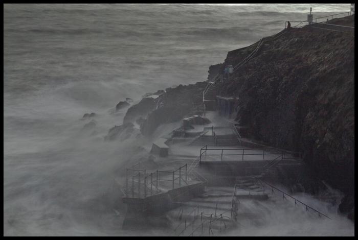 Guillamenes platform during winter storm, long exposure