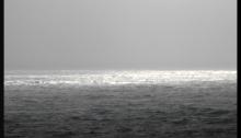 Grey winter horizon in the ocean