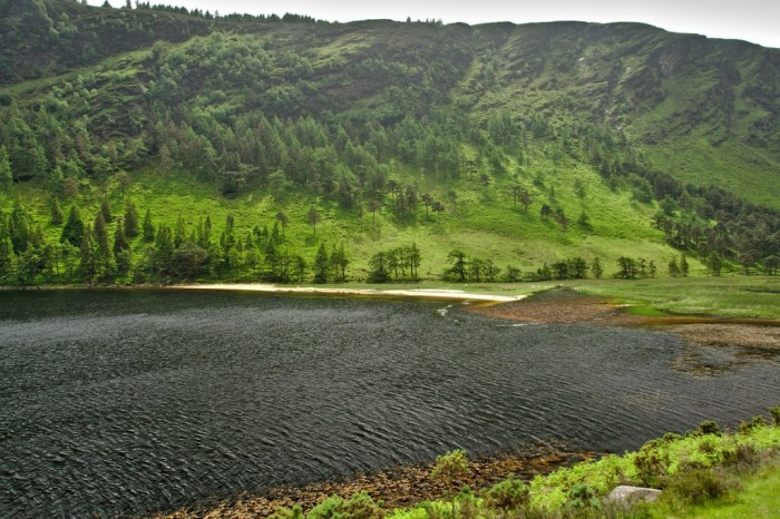 West (far) end of lake with river inflow
