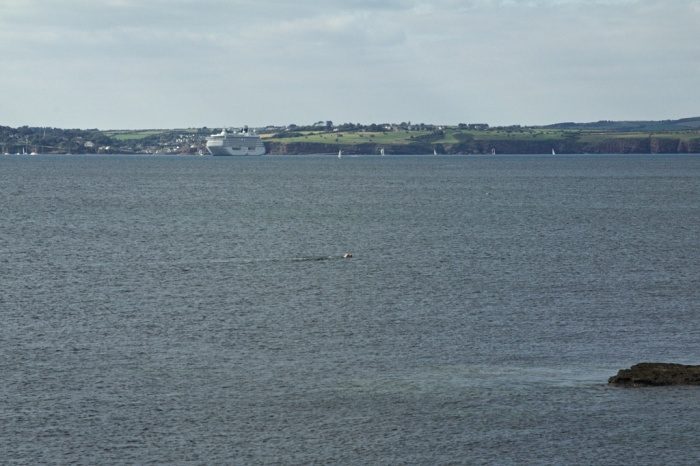 Finally through  the worst of the current. Dunmore east is visible across the estuary with a cruise ship moored off the fishing harbour.