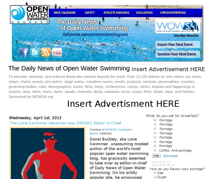 Daily news of Open Water Swimming front page announcement of Lone Swimmer as new editor in chief