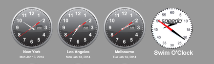 Four analogue clock faces, three showin differnt world times, the fourth a swim pace clock