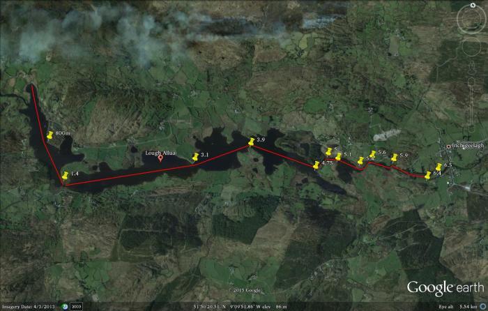 Lough Allua Google Earth swim map