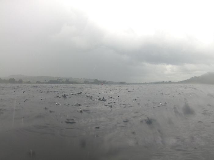 Swimming racing in the rain