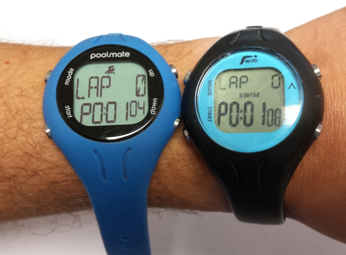 Comparison photo of Older and newer Swimovate Poolmate watches