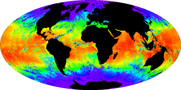 Global Mercator Projection map of ocean temperatures