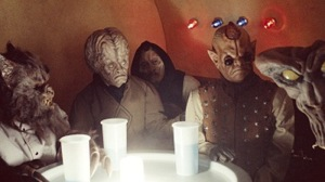 Screen capture of the scum and villianous characters (customers) in the first Star Wars movie
