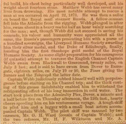 Scan of early 20th Century London Illustrated news coverage of Captain Webb's first Channel attempt