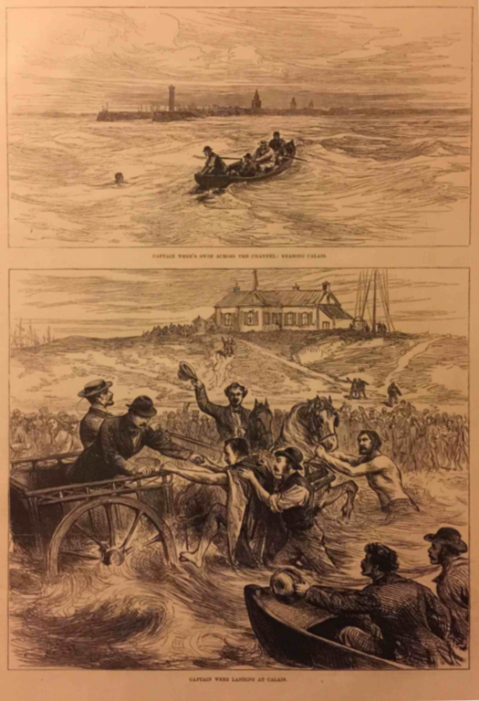 Scan of London Illustrated News drawing of Captain Webb's first English Channel attempt