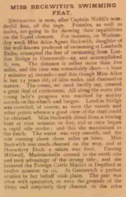 Scan of early 20th Century Pictorial World coverage of Agnes Beckwith OW swim