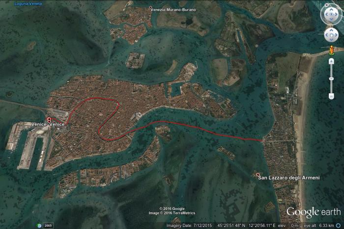Google Earth map of Byron's swim through Venice