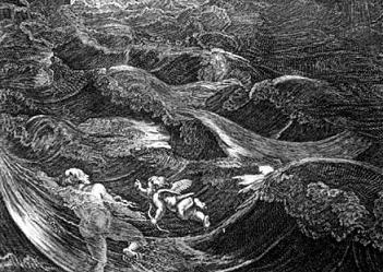 Detail of a black and white painting of Leander Swimming the Hellespont by Bernard Picalt