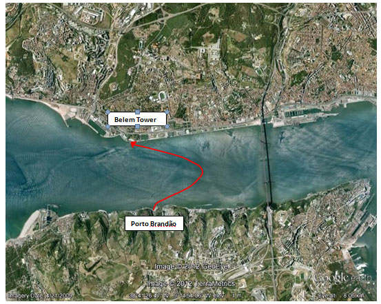 Google Earht image of swim route across River Tagus