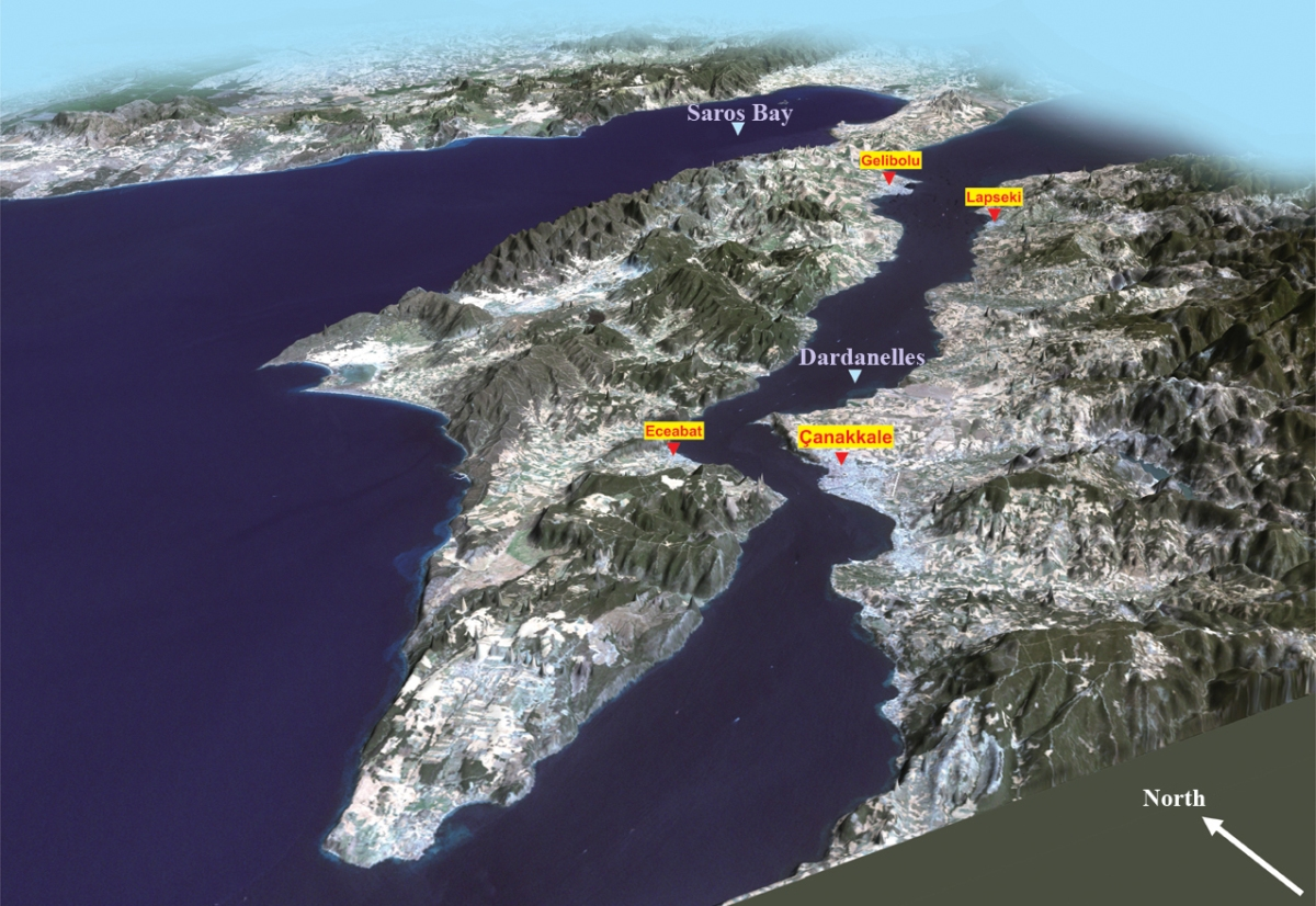 An Oblique Map of the Dardanelles formerly known as the Hellespont strait