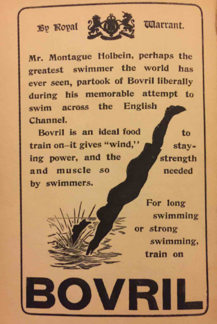 Ad for Bovril from Holbein's swimming book